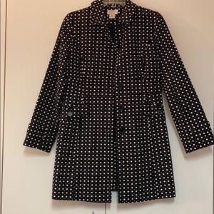 Ann Taylor Polka Dot Trench Coat Black & White